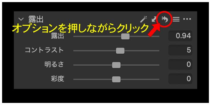 オプションを押しながらツールのリセットボタンをクリック