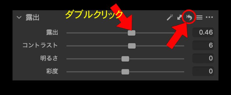 リセットアイコンをクリックすると露出とコントラストも同時に初期値に戻る