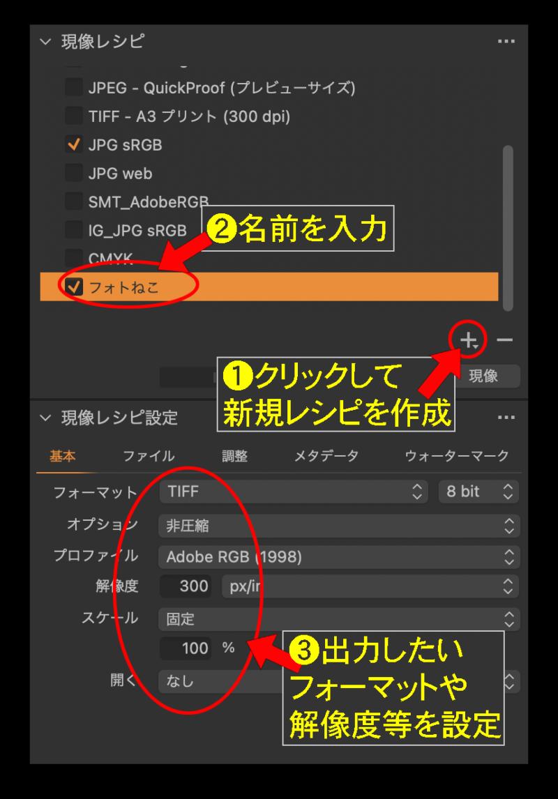 現像レシピを作るには「現像レシピ」ツールの右下の「+」アイコンをクリッ ク
